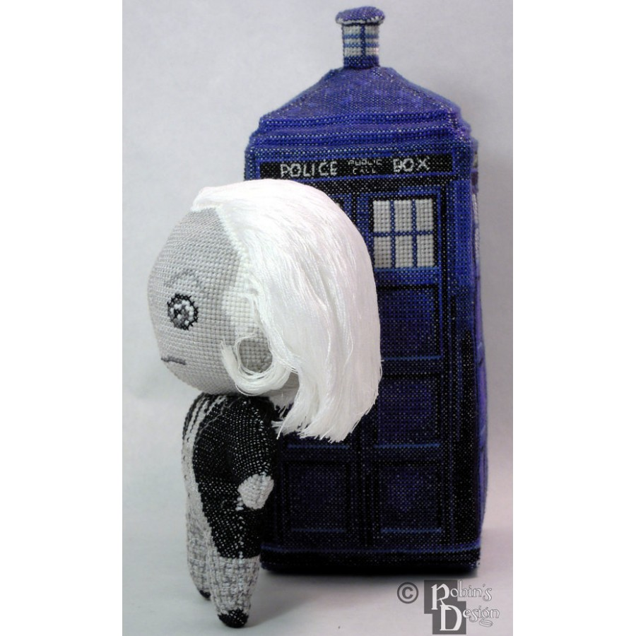 The First Doctor Doll in Color or Black and White 3D Cross Stitch Sewing Pattern PDF