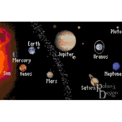 The Solar System with Labels Cross Stitch Pattern PDF