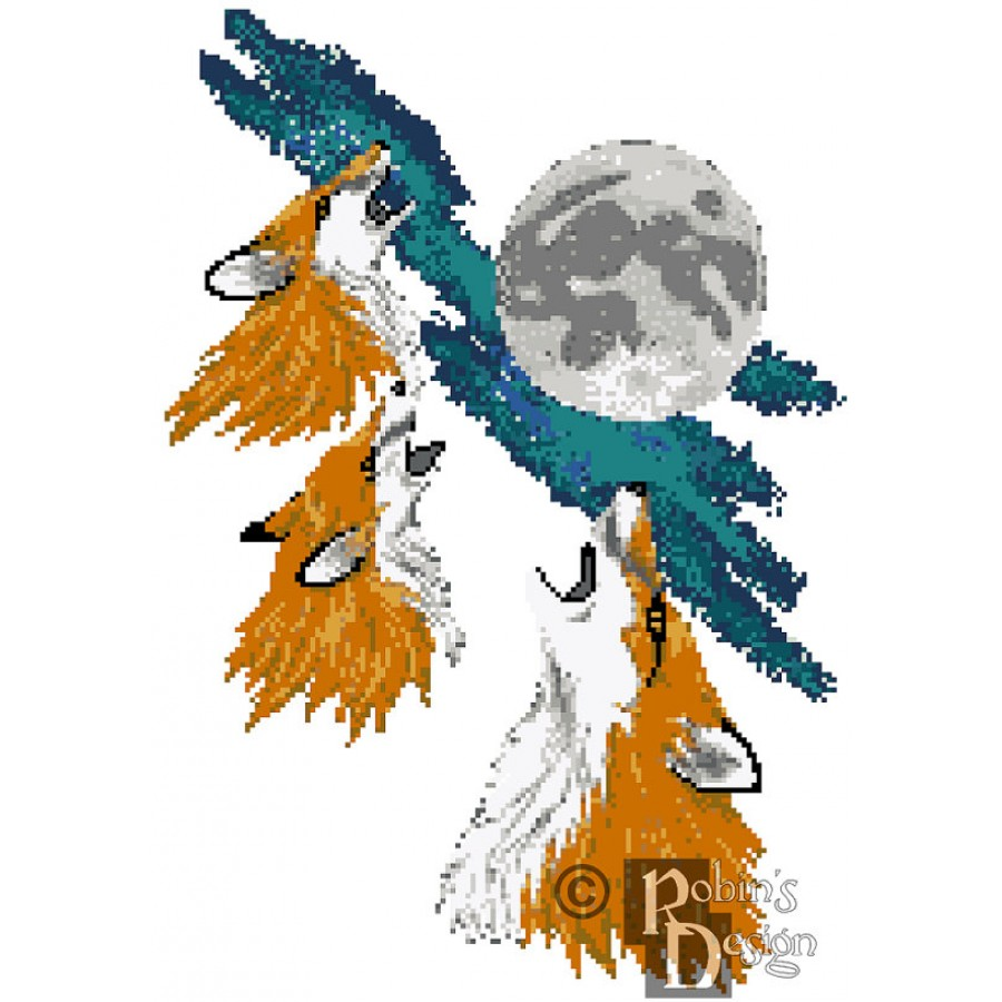 Three Fox Moon Cross Stitch Pattern PDF