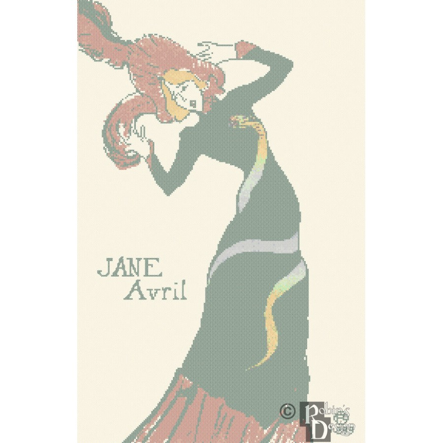 Toulouse Lautrec's Jane Avril Poster Cross Stitch Pattern PDF