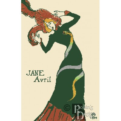 Toulouse Lautrec's Jane Avril Poster Cross Stitch Pattern PDF Download