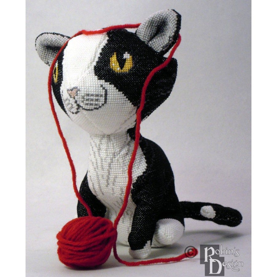 Maurice the Tuxedo Cat Doll 3D Cross Stitch Animal Sewing Pattern PDF Download