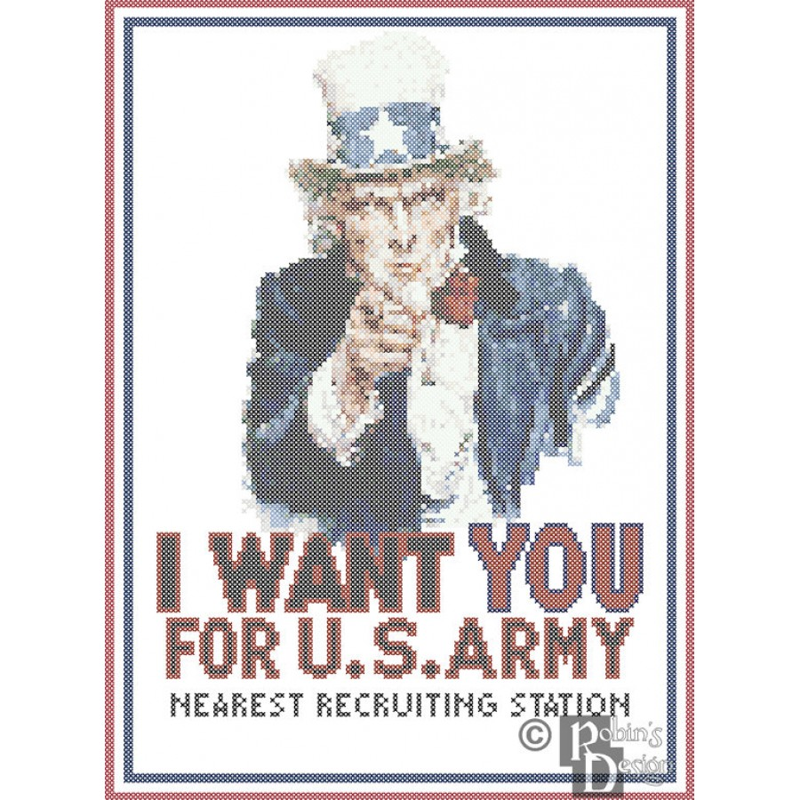 Uncle Sam Wants You Poster Reproduction Cross Stitch Pattern PDF