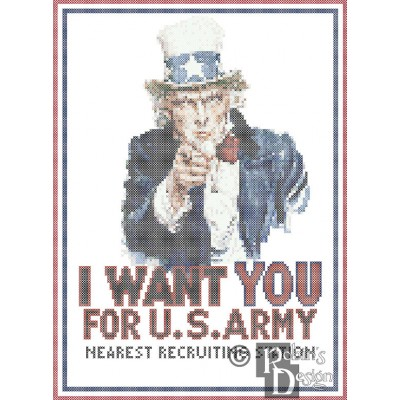 Uncle Sam Wants You Poster Reproduction Cross Stitch Pattern PDF Download