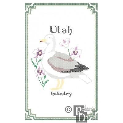 Utah State Bird, Flower and Motto Cross Stitch Pattern PDF