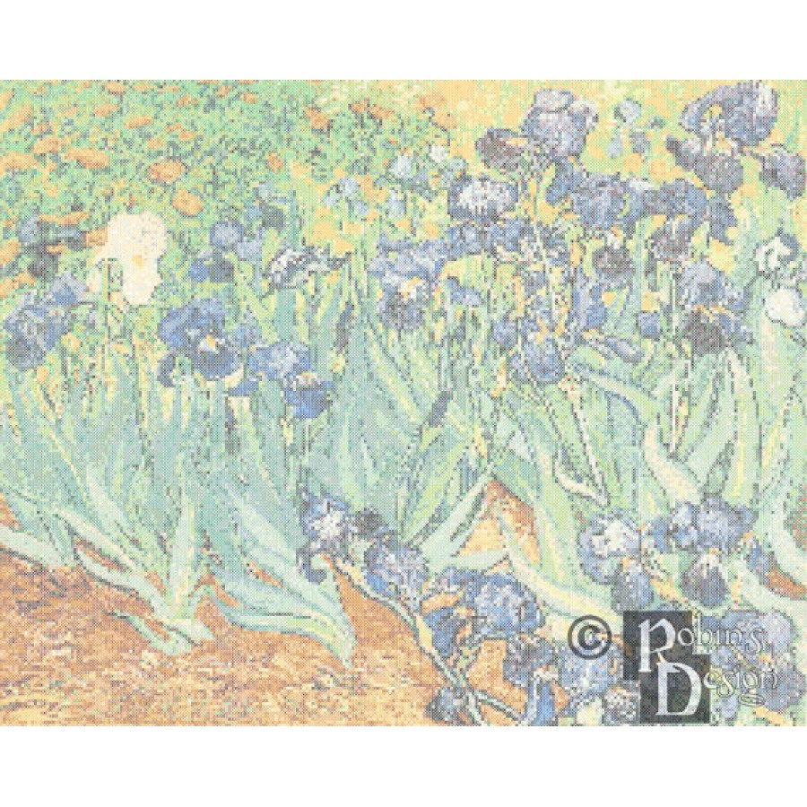 Vincent Van Gogh's Irises in a Field Cross Stitch Pattern PDF