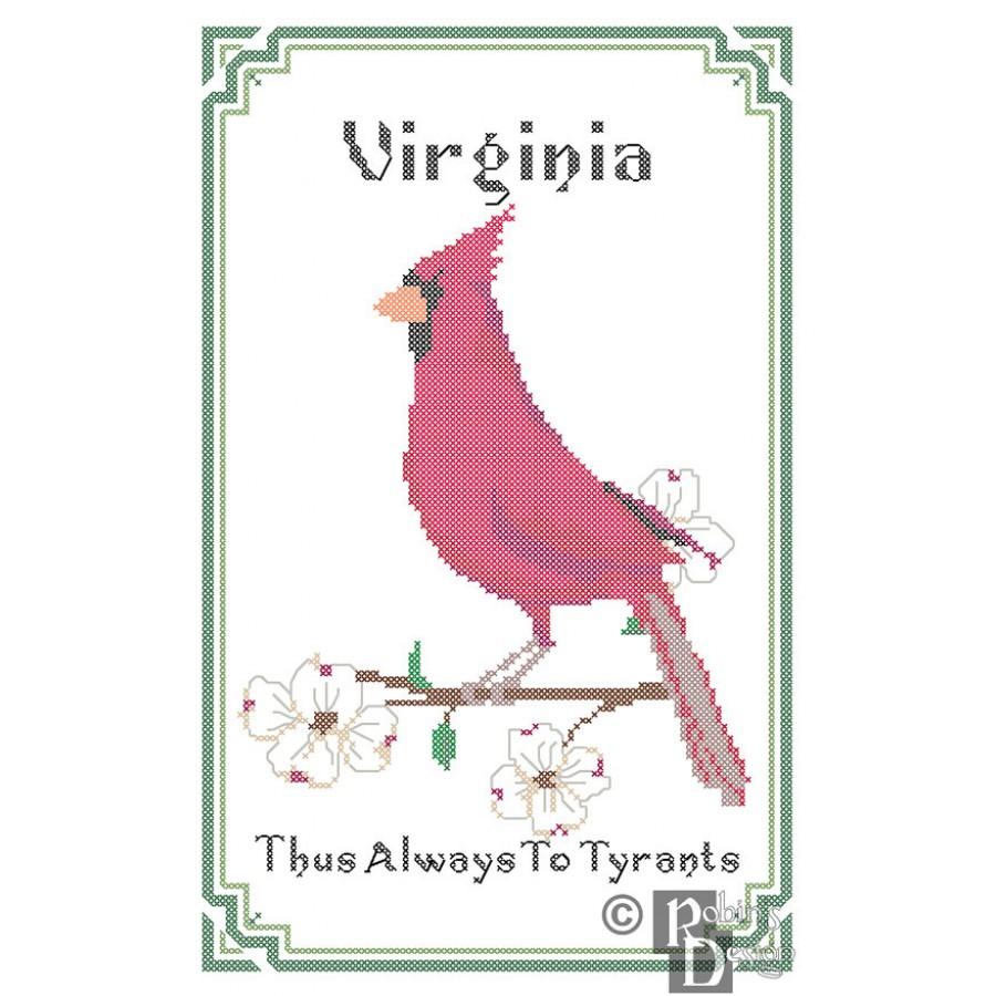 Virginia State Bird, Flower and Motto Cross Stitch Pattern PDF