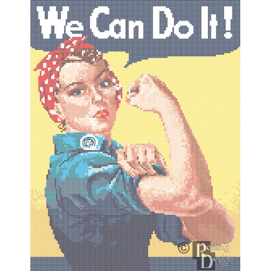We Can Do It Poster Reproduction Cross Stitch Pattern PDF