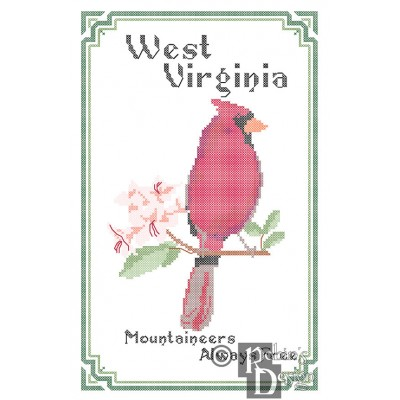 West Virginia State Bird, Flower and Motto Cross Stitch Pattern PDF