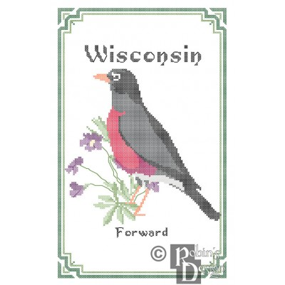Wisconsin State Bird, Flower and Motto Cross Stitch Pattern PDF