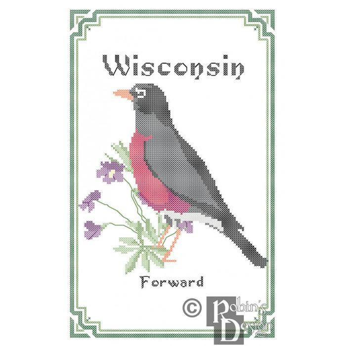 Wisconsin State Bird, Flower and Motto Cross Stitch Pattern PDF
