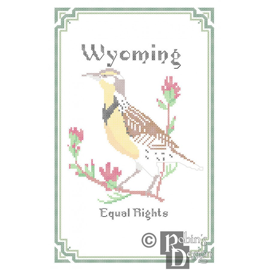 Wyoming State Bird, Flower and Motto Cross Stitch Pattern PDF