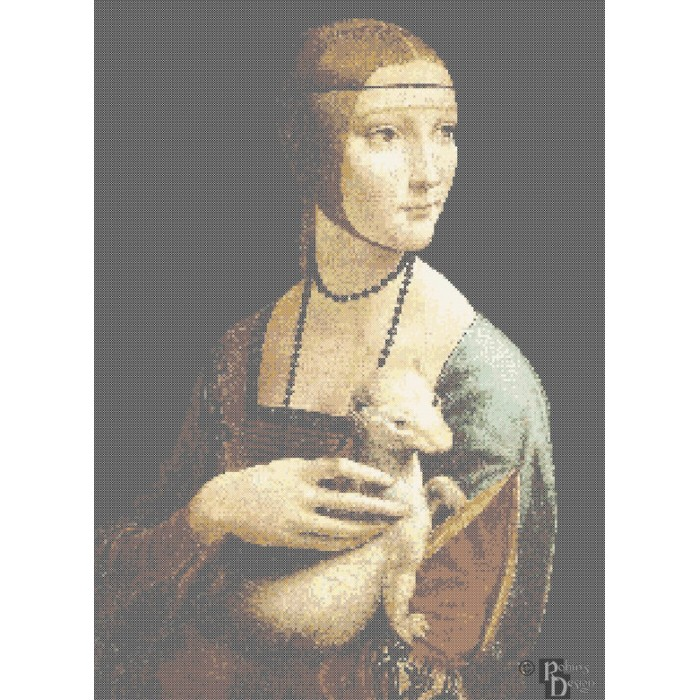 da Vinci's Lady with an Ermine Cross Stitch Pattern PDF
