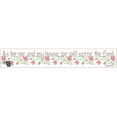 As for Me and My House, We Will Serve the Lord Cross Stitch Pattern PDF Download