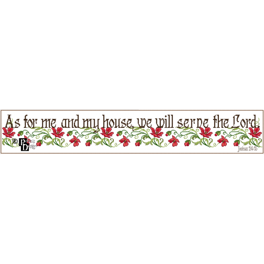 As for Me and My House, We Will Serve the Lord Cross Stitch Pattern PDF