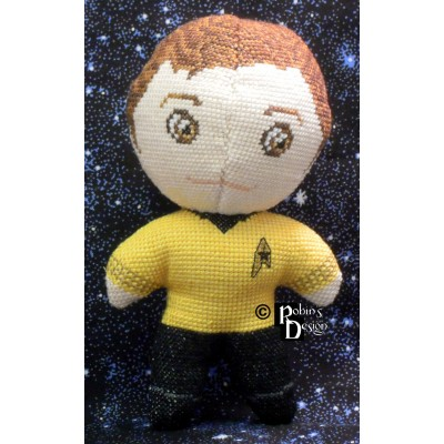 Captain Kirk Doll 3D Cross Stitch Sewing Pattern PDF