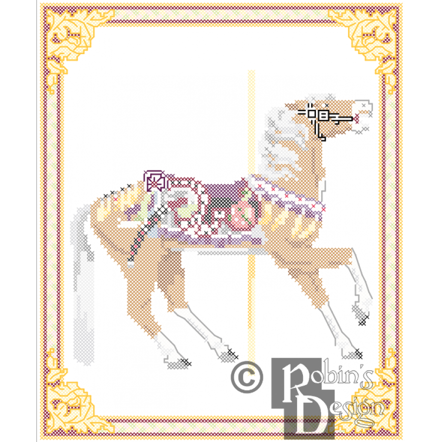 Carousel Horse Cross Stitch Pattern Herschell-Spillman Golden Gate Park, San Francisco, CA PDF