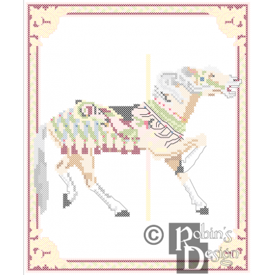 Carousel Horse Cross Stitch Pattern Herschell-Spillman PDF Download