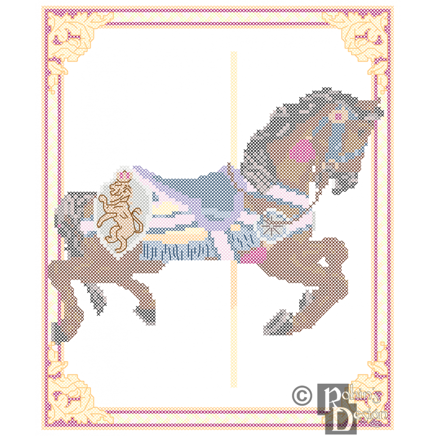 Carousel Horse Cross Stitch Pattern Philadelphia Toboggan Co. PDF Download