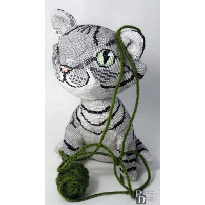 Demelza the Gray Mackerel Tabby Cat Doll 3D Cross Stitch Animal Sewing Pattern PDF Download