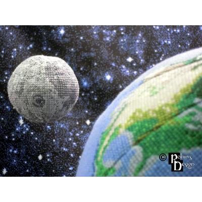 Moon Globe 3D Cross Stitch Sewing Pattern PDF Download