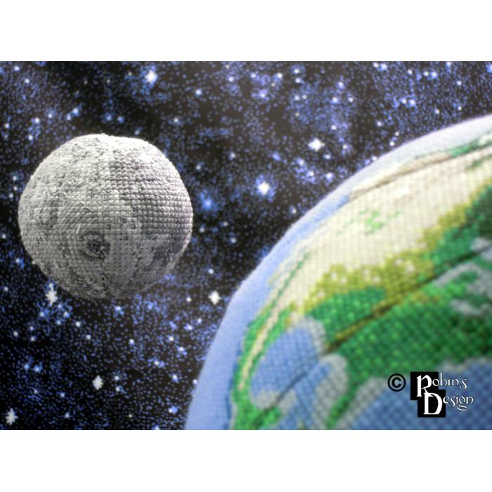 Moon Globe 3D Cross Stitch Sewing Pattern PDF Download