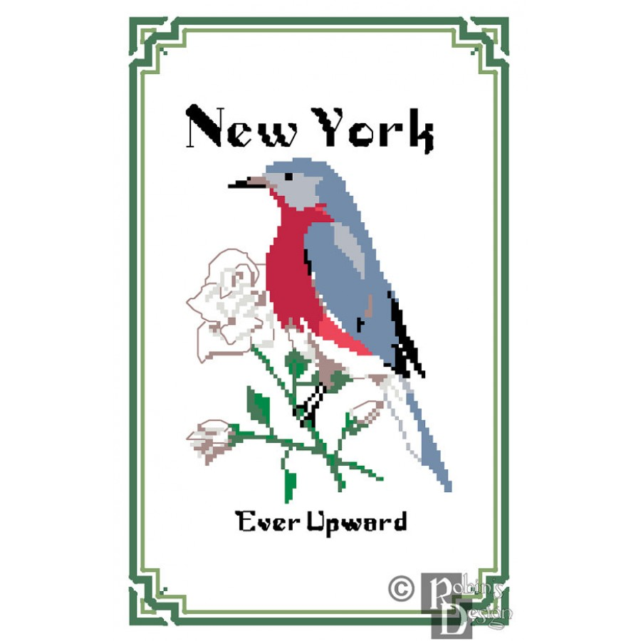 new york state bird flower and motto cross stitch pattern pdf. Black Bedroom Furniture Sets. Home Design Ideas