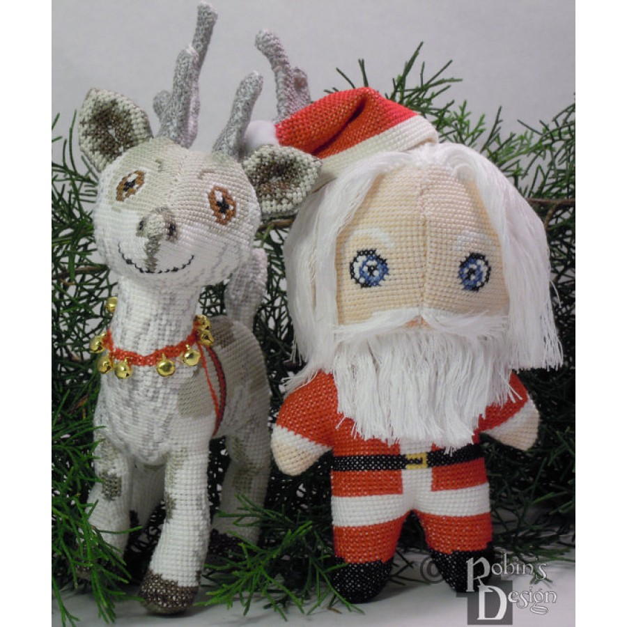 Santa claus reindeer doll d cross stitch animal sewing