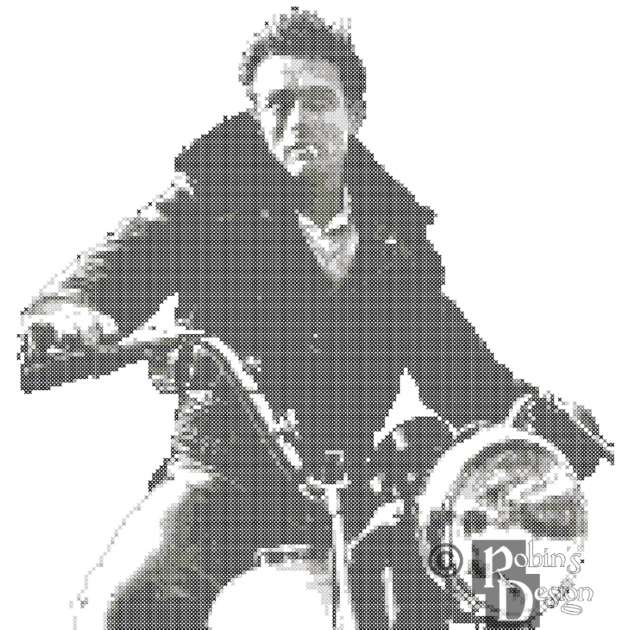 James Dean on a Motorcycle Cross Stitch Pattern PDF