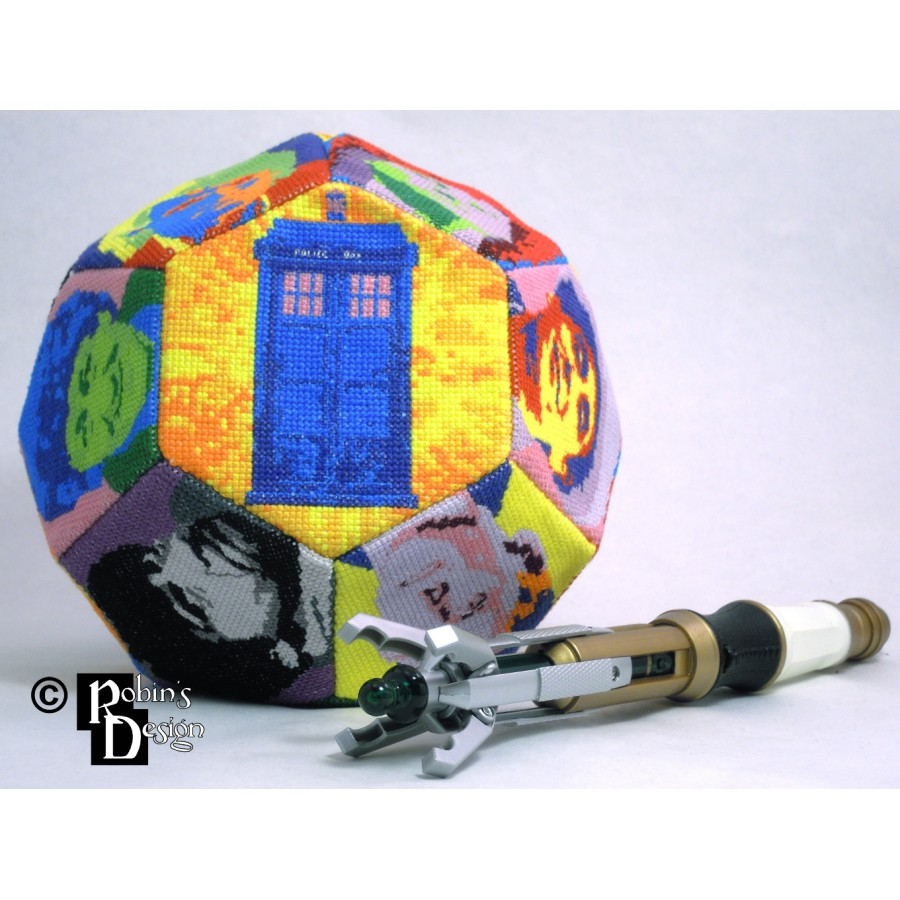 The Many Faces of the Doctor Hexakaidecahedron d16 Cross Stitch Sewing Pattern PDF