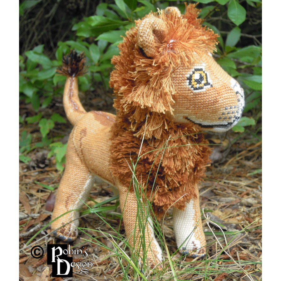 Mfalme and Malkia the African Lions Dolls 3D Cross Stitch Animals Sewing Pattern PDF Download