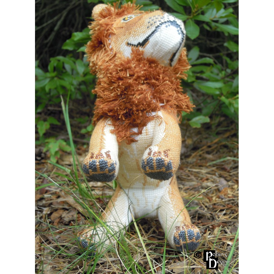 Mfalme the African Lion Doll 3D Cross Stitch Animal Sewing Pattern PDF Download