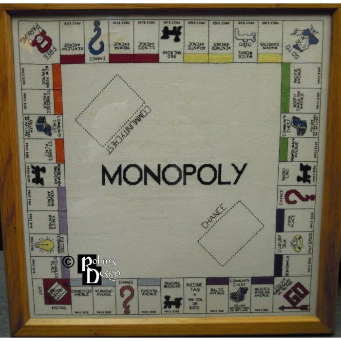 Monopoly Game Board Cross Stitch Pattern PDF Download