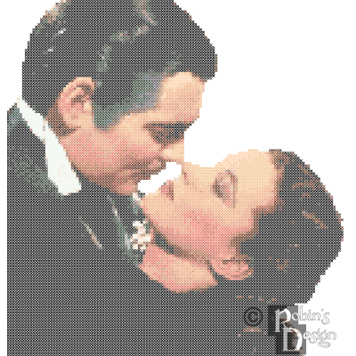Rhett Butler and Scarlett O'Hara Embrace Cross Stitch Pattern PDF