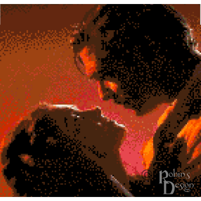 Scarlett and Rhett as Atlanta Burns Cross Stitch Pattern PDF