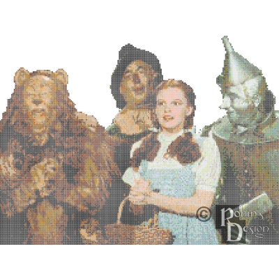Wizard of Oz Dorothy and the Boys Cross Stitch Pattern PDF