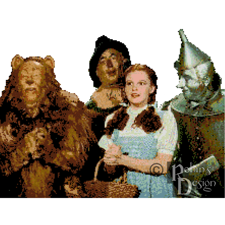 Wizard of Oz Dorothy and the Boys Cross Stitch Pattern PDF