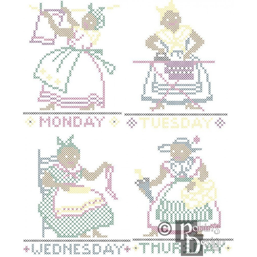 Mammy Designs Set of Seven Days of the Week Cross Stitch Patterns PDF