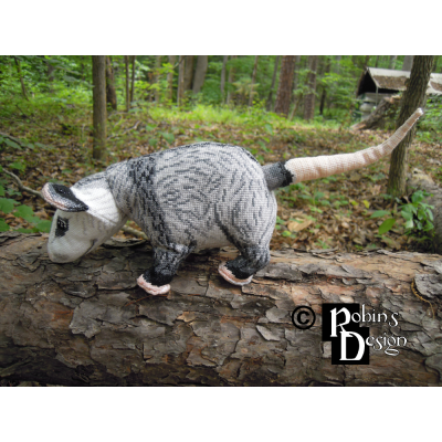Dreyfuss the Virginia Opossum Doll 3D Cross Stitch Animal Sewing Pattern PDF Download
