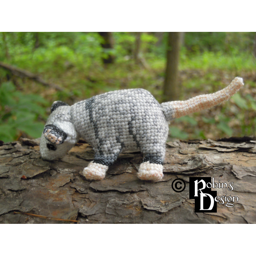 Plop the Baby Virginia Opossum Doll 3D Cross Stitch Animal Sewing Pattern PDF
