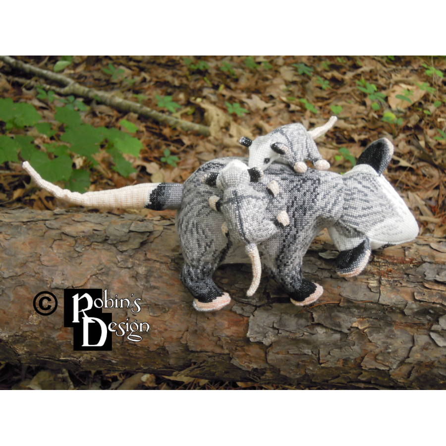 Virginia Opossum Family Dolls 3D Cross Stitch Animals Sewing Patterns PDF