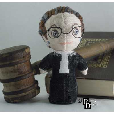 Ruth Bader Ginsburg Doll 3D Cross Stitch Sewing Pattern PDF
