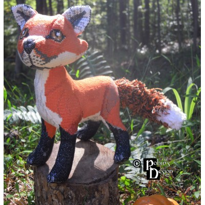 Mulder the Red Fox Doll 3D Cross Stitch Animal Sewing Pattern PDF Download