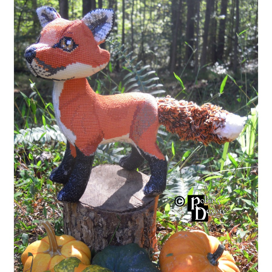 Mulder the Red Fox Doll 3D Cross Stitch Animal Sewing Pattern PDF