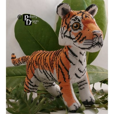 Hobbs the Bengal Tiger Doll 3D Cross Stitch Animal Sewing Pattern PDF