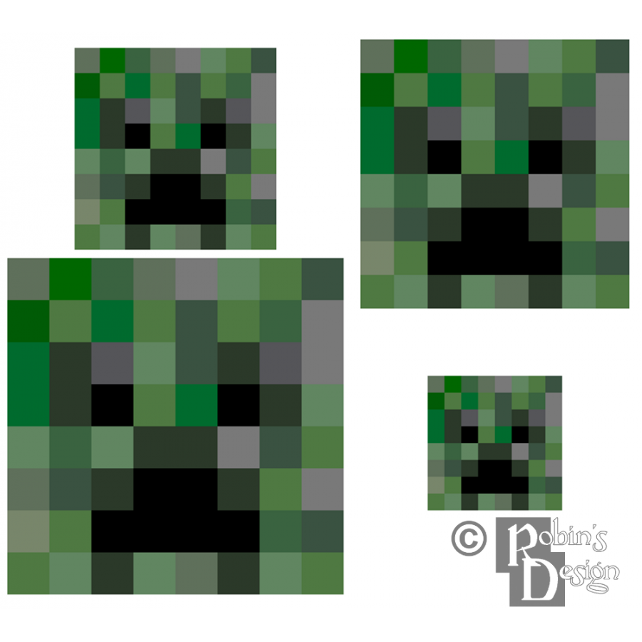Minecraft Creeper Cross Stitch Pattern for Shirt Patch Set of Four PDF