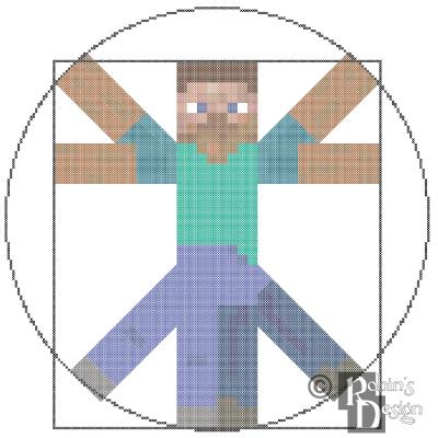 Vitruvian Minecraft Man Cross Stitch Pattern PDF Download