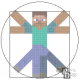 Vitruvian Minecraft Man Cross Stitch Pattern PDF Download