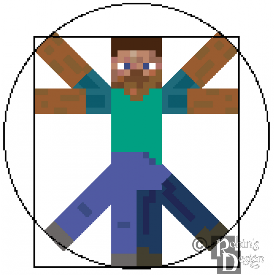 Vitruvian Minecraft Man Cross Stitch Pattern PDF