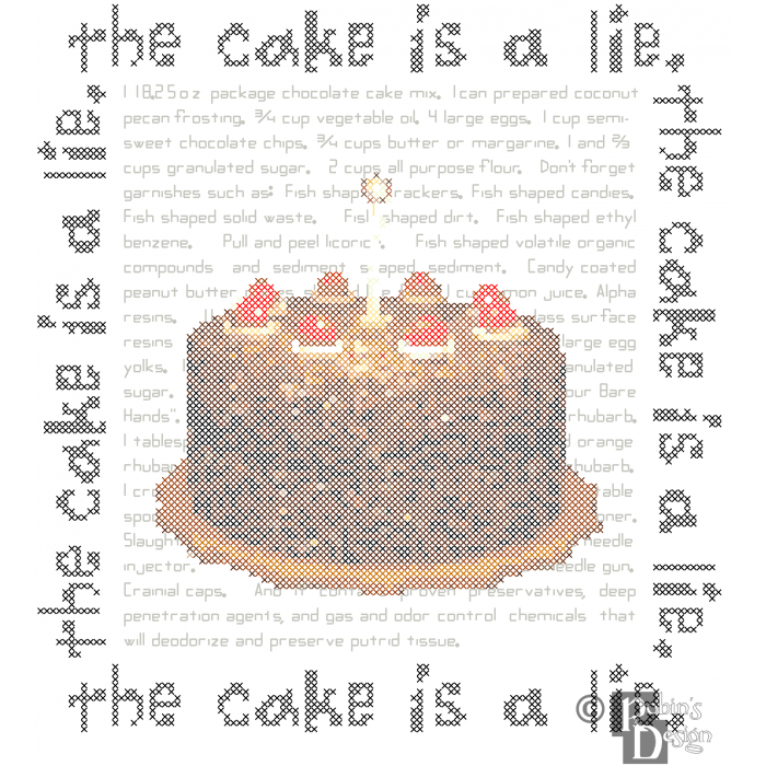 Portal Cake The Cake is a Lie Cross Stitch Pattern PDF